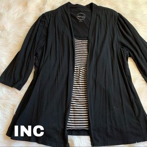 Inc size 3X black top with attached cardigan